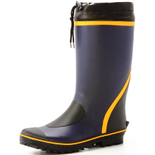 Blue And Yellow And Black Men's Sweat-absorbent Lining Rubber Boots