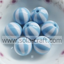 16MM 500Pcs Shop High Quality Sky Blue & White Striped Silicone Decorative Curtains Loose Polystyrene Beads For Clothes