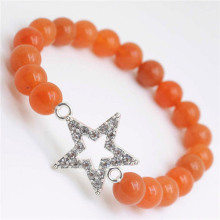 Red Aventurine Gemstone Bracelet with Diamante alloy star Piece