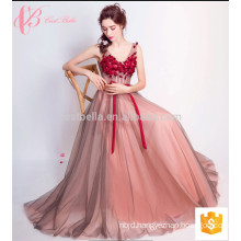 Slender A line Appliqued Tulle Sleeveless Evening Dress With Fine Bow