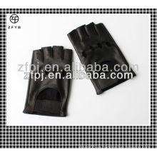 Hombres guantes de cuero de conducción de automóviles sin dedos