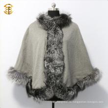 Luxus Echtes Silber Fox Pelz getrimmt Frauen Schal