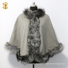Luxury Genuine Silver Fox Fur Trimmed Womens Shawl