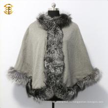 Роскошная поддельная меховая сумка из серебристой лисы