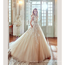Vestido de noiva de vestido de casamento de champanhe de laço de venda quente