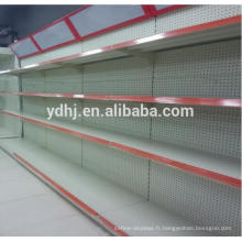 Étagère de supermarché en métal perforé avec caisson lumineux