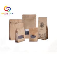 Wiederverwendbare Kraftpapier-Kaffeetaschen mit klarem Fenster