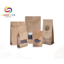 Reusable Kraft Paper Coffee Bags With Clear Window