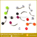 Edelstahl Piercing bunte UV Acryl Würfel gebogen Barbell Augenbraue Ring