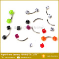 Stainless Steel Piercing Colorful UV Acrylic Dice Curved Barbell Eyebrow Ring