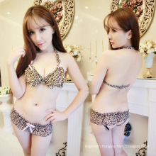 China Wholesale sexy Leopard open transparent short shirt tight erotic famale lingerie bra and panty