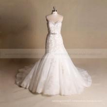 Beautiful Sweet Heart Mermaid Chapel Train Lace Wedding Gown With Beading belt