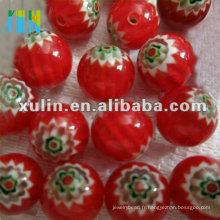 perles de commerce chevron 10mm rouge