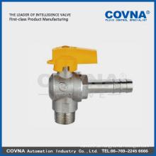 Abgewinkeltes Kugelhahnventil Vollstrom für Gas, Stecker / Schlauchanschluss mit Aluminiumgriff