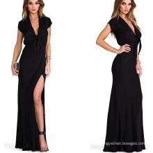 Горячая продажа 2015 с коротким рукавом Maxi летние женские платья