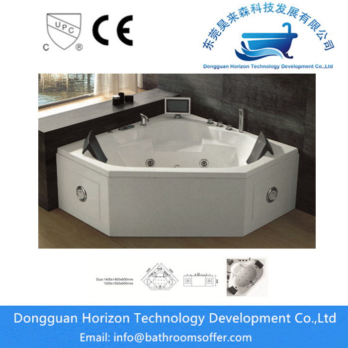 Soaking tub triangle whirlpool bathtub China Manufacturer
