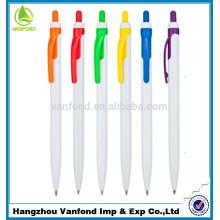 mais barata caneta esferográfica plástica com clip colorido
