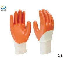Baumwoll-Interlock-Liner Gelbe Nitril-halbbeschichtete Sicherheits-Arbeitshandschuhe (N6038)