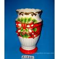 Vaso cerâmico pintado à mão para decoração de natal