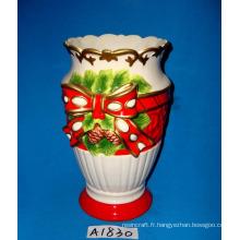 Vase en céramique peinte à la main pour décoration de noel