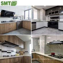 современный высокий стеклянный деревянный роскошный дизайн кухонного шкафа с раковиной для проекта