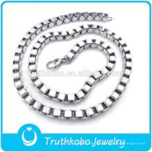 L-N0038 Venta al por mayor cuadrado de 3 mm Box Link Cadena de plata de los hombres de acero inoxidable diseño personalizado collar