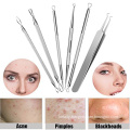 new 6pcs stainless steel washer comedone extractor kit closed loop extractor blackhead remover tool