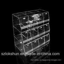 Estantes de exhibición de acrílico de cristal superior, exhibidores de tienda de alimentos, bandejas de acrílico