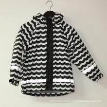 Wave Black/White Reflective PU Rain Jacket/Raincoat