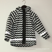 Wave Black/White Reflective PU Rain Jacket/Raincoat
