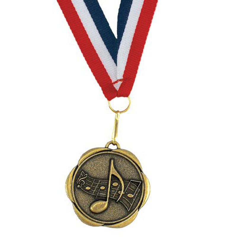 Perfect Attendance Spinner Medal With Ribbons