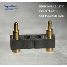 2pin Federbelastete elektrische Kontakt Pogo Pins, schwarzer Kunststoff