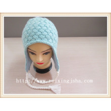 Iceland yarn hand knitted hat with earflap