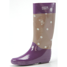 Purple Women Dotted Rubber Boots For Cold Winter