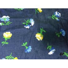 100% denim impreso flor de algodón