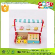 Juguete simulado y juguetes preescolares de madera del helado de la tienda para los cabritos