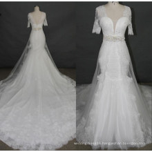 Newest Short Sleeve Lace Beading Mermaid Wedding Dress Bridal Gowns F5078
