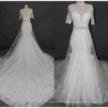 Mais novo manga curta rendas beading sereia vestido de noiva vestidos de noiva f5078