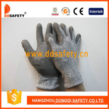 13G Hppe (fibras de polietileno de alto rendimiento) / Forro de fibra de vidrio, Spandex / Nylon Mixedgrey Guantes PU recubiertos en Palm / Finger. (DCR120)