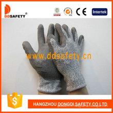 13G Hppe (fibres de polyéthylène de haute performance) / doublure en fibre de verre, gants en mélange de gris et de spandex PU enduit sur paume / doigt. (DCR120)