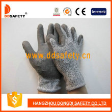 13G Hppe (High performance polyethylene fibers) /Glass Fiber Liner, Spandex/Nylon Mixedgrey Gloves PU Coated on Palm/Finger. (DCR120)