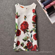 Gros Rose fleur imprimé robe décontractée Flower Girl Dress Patterns de 2-7 ans