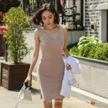 Summer dress female 2020 new low-cut V-neck sleeveless vest skirt beaded slim package hip split vest dress