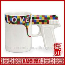 Tasse en céramique en forme de pistolet, tasse à café à manette, tasse en forme d'arme