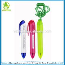 Pluma de plástico mensaje lanyard promocionales logo modificado para requisitos particulares