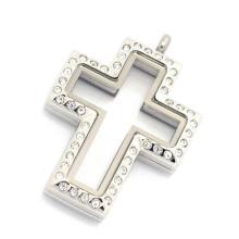 Heißer Verkauf Edelstahl Silber Magnetglas schwimmende Charms Kreuz Medaillon Anhänger, schwimmende Charme Medaillon Halskette