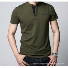 Bordado Logo Moda Personalizado Algodão Equipado Homens Camisa Polo