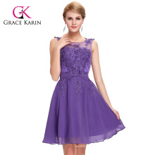 Grace Karin Newest Sleeveless Crew Neck Chiffon Short Purple Evening Dress 2016 GK000063-6