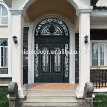 Fábrica competitiva precio hierro puertas de entrada principal parrilla diseño