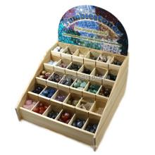 Madeira Counter Top Stone Botton Display Racks Para Venda, Publicidade 30 Divisores Candy Display Racks